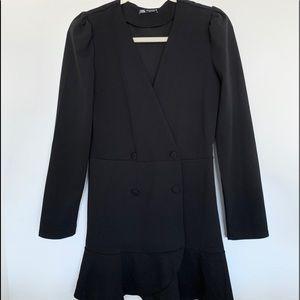 Zara Blazer Dress with Ruffle Hem